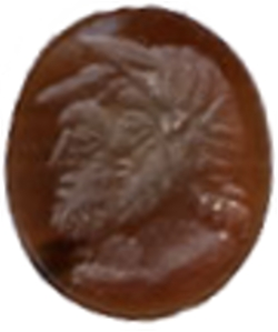 Roman Intaglio - Carausius and Allectus - Brown Stone - 3rd. Century A.D.